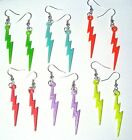Flash Lightning Bolts Acrylic Plastic Silver Plated Charms Earrings