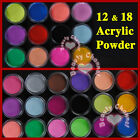 12 18 Color acrylic Powder liquid Glitter Nail Art Tool Kit UV Deco set