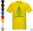 KEEP CALM AND CARRY ON CAMPING - T-SHIRT - ALL SIZES, SHIRT + PRINT COLS (tent)