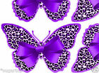 24 PURPLE Leopard Print BOW Design Butterflies Edible Decorate Cup Cake Toppers