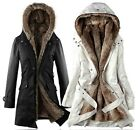 Womens Ladies Winter Thicken Faux Fur Hooded Parka Jacket Coat Outwear S-XXL