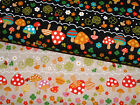 Japanese Linen/Cotton Kokka Flower Mushrooms Border funky cute clover