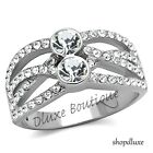 1.50 CT ROUND CUT CZ STAINLESS STEEL WIDE BAND FASHION RING WOMEN'S SIZE 5-10