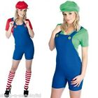 Ladies Mario AND Luigi Plumber Couples Fancy Dress Costume Outfit 8-30 Plus Size