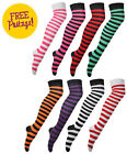 New Ladies Striped Thigh High Long Womens Over Knee Stripe Print Patterned Socks