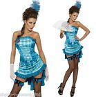 Ladies Sexy Turquoise Burlesque Show Girl Hen Do Fancy Dress Costume Outfit
