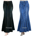 Black Blue Long Denim Skirt Mermaid Silhouette Plus Size 26 24 22 20 18 16 14 12