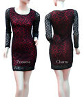 Size 8 10 12 14 16 Lace Cocktail Party Club Bodycon Dress Black Red Long Sleeve