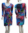 Size 8 10 12 14 Day Dress Red Blue Green Tropical Palm Leaf Print Pleats New