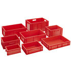 Stackable Euro Storage Containers Red Plastic Industrial Boxes Foodsafe Plastic