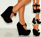 LADIES WOMENS BLACK PARTY SUEDE BOW PLATFORM WEDGES WEDGED HIGH HEELS SHOES 3-8