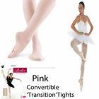Ladies Girls Pink Convertible Transition Ballet Dance Tights Silky Quality Made