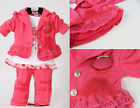 NEW 3PCS Baby Girls Kids Pink Clothes Coat T-shirt + Pants Child Outfit Clothing