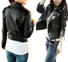 New Fashion Women's Slim Fit Synthetic Leather Jacket Coat Short Black outerwear