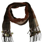 Brown, camel and beige coloured scarf with coins on fringe  - BNIP (781)