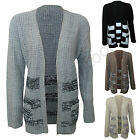 Women Cable knitted Aztec Stripes Print boyfriend Knitted Open Cardigan Jumper