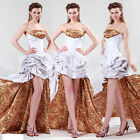 Stunning Leopard long back Taffeta Evening Formal Ball gown Party Prom Dresses