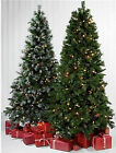 4ft 5ft 6FT 7FT  GREEN FROSTED CONE PRE LIT SPRUCE CHRISTMAS TREE  FAIRY LIGHTS
