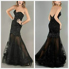 New Black Applique Formal Party Ball Evening Pageant Prom Dresses Wedding Gowns