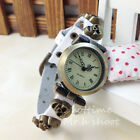 New Skull Skeleton Lady Personality Vintage Style Leather Quartz Watch