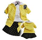 Baby Girls Clothes Fall Autumn Set 3PCS Suits Coat+T-shirt+Skirt Kids Clothing