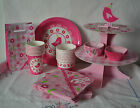 A LITTLE BIRD TOLD ME PINK CHILDRENS BIRTHDAY PARTY TABLEWARE DISPOSABLE PAPER