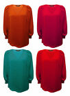 LADIES PLUS SIZE PARTY EVENING SATIN TOP BLOUSE RED ORANGE PINK JADE SIZE 16-32