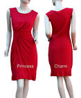 Black Red Cocktail Party Race Pencil Dress Size 8 10 12 14 16 with Drapes Pleats