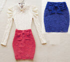 Embroidered Floral Lace High Waist Bow Bodycon mini Skirt hip package slit lady