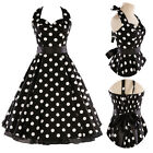 Vintage Series Rockabilly Polka Dot Swing Black Retro Pin Up Flared Dress