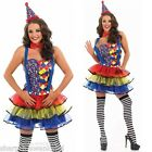 Ladies Sexy Clown Circus Carnival Hen Do Fancy Dress Costume Outfit & Plus Size