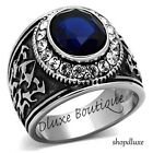 Men's Stainless Steel Blue Montana & CZ Biker Gothic Fashion Ring Band Size 8-13