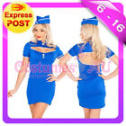 Ladies Air Hostess Flight Attendant Stewardess Fancy Dress Costume & Airline Hat