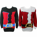 Mens Women's Santa Knitted Crew Neck Sweater unisex Jumper Pullover UK Plus Size