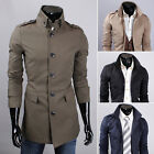 Men's Single Breasted Business Casual Slim Trench Coats Jacket Long Windbreaker