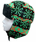 FLUORESCENT KNITTED SKI BRIGHT COLOURFUL RETRO TRAPPER HAT UNISEX - One Size