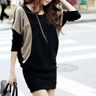 Women's Batwing Sleeve Loose Wrap Mini Dress Sweater Pullover Knitwears Long Top