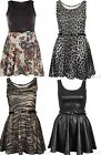 New Womens Plus Size Floral Animal Printed Belted Flared Skater Skirt Dress12-26