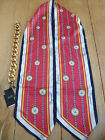 DSQUARED2 SILK LONG SCARF CLOCK CHAIN DETAIL CHUNKY BRASS CHAIN RED NAVY YELLOW