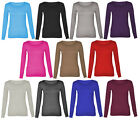 3A-WOMENS LONG SLEEVE PLAIN ROUND CREW NECK TOP T-SHIRT LADIES-UK SIZE 8-26