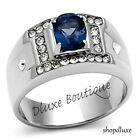 Men's Oval Cut Dark Blue Montana AAA CZ Silver Stainless Steel Ring Size 8-13