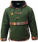 Fully fleece lined Green Grey WOFFLE Pull Over,Hippy style superwarrm Boho Hoody