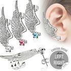316L Surgical Steel Star CZ Stud Earring with Angel Wing Ear Cuff