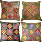 """Large Cushion Covers Recycled Sari Fabric 24"""" 60cm Blue Red Green Brown Orange"""