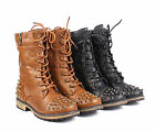 Black / Tan Two Tone Studded Girls Military Boots Shoes Kids Youth Size 9 - 4