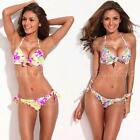 New Floral Sexy Push Up Triangle Halter Thin Bandeau Swimwear Swimsuit Bikini