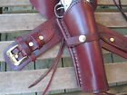 "Gun Belt Combo - 6"" to 8"" Smooth Holster - Genuine Leather -Wine - Specify Size"