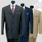 Men's 3 Button Wool Feel Sharkskin Look Suit 58025 Black, Navy, Tan