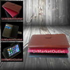 Magnetic Folio Case Apple iPhone 5 5s w/ Card Slots + Plastic Screen Protector