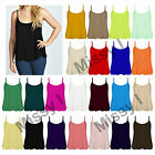Womens Spaghetti Strap Cami Swing Vest Sleeveless Hanky Hem Flared Tank Top 8-22
